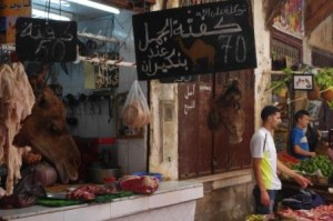 Camel meat stall