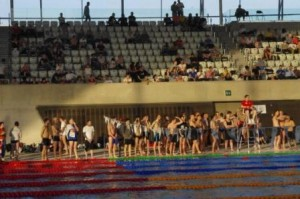 Spectators and swimmers
