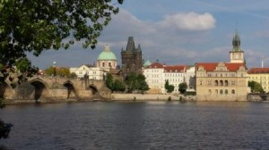 Famous View of Prague and the charles Bridge from the river