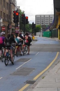 CS3 Sunday Cyclists stop on the red light