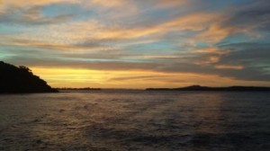 Auckland sunset from the ferry