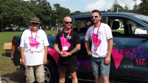 Hard working Proud to Play Organisers Craig (Centre) and Dion (R) with Volunteer Marjo