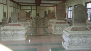 Marble inscriptions on modern carved marble plinths