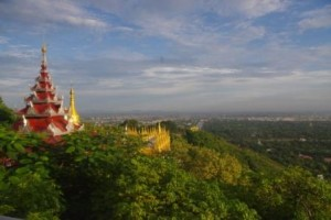 View of Mandalay including where the teak royal palace was before the war