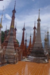 Stupas at the back