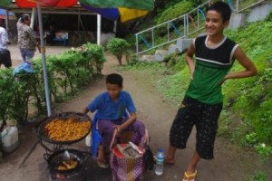 Boys selling street food - The Falls