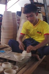 Lacquor Works working with bamboo