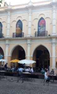 Plaza café and colonial architecture