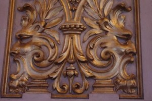 La Colón plaster detail - faces in the swirls