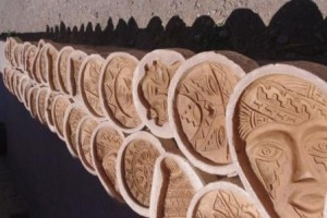 Pottery plaques drying